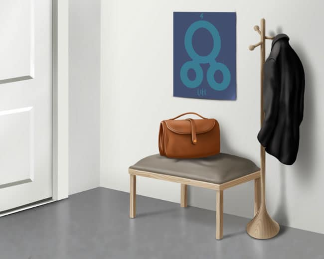 briefcase and coat by front door